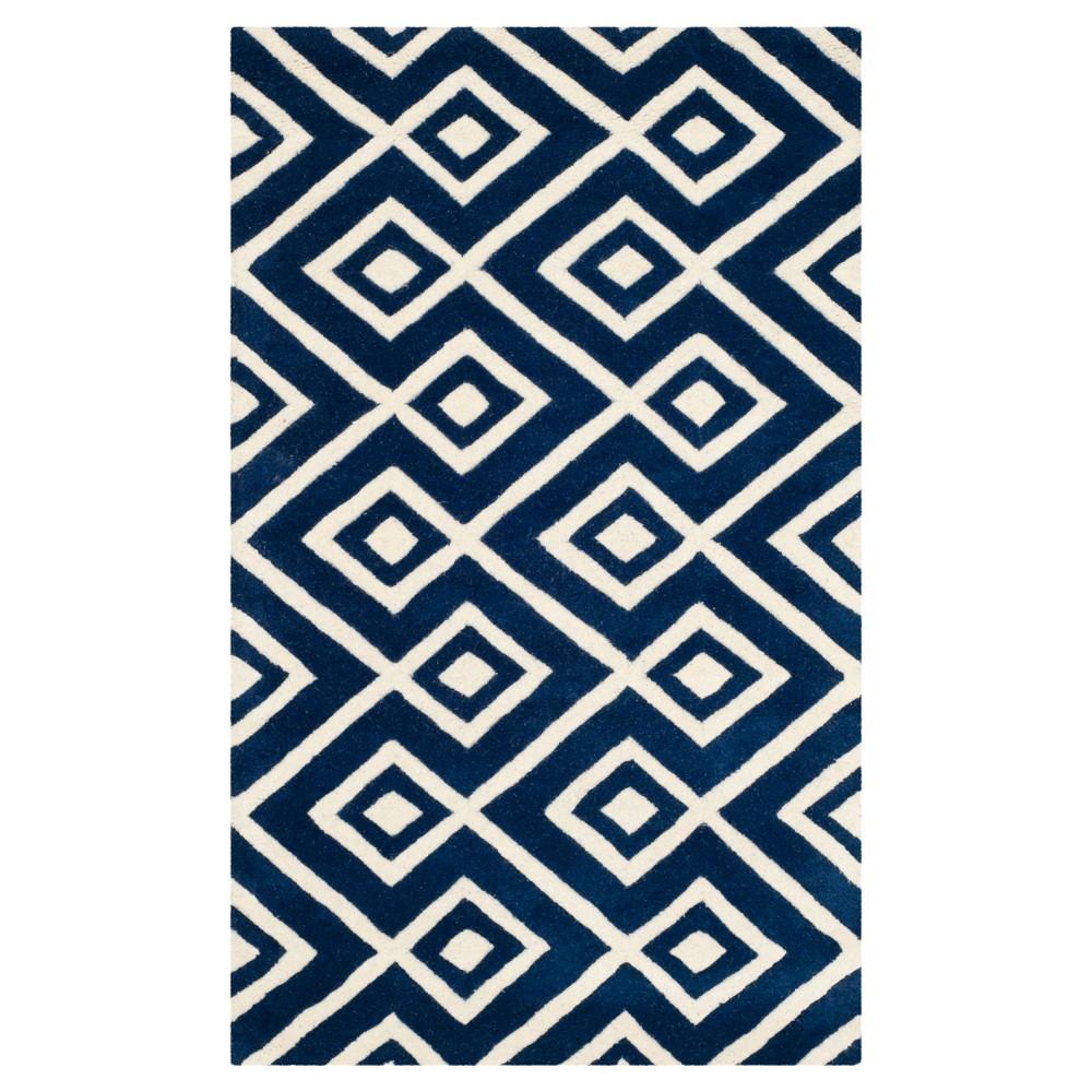 2'X3' Geometric Accent Rug Dark Blue/Ivory - Safavieh