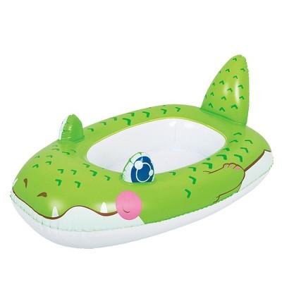 "Pool Central 34""  Green Alligator Children's Inflatable Pool Boat Float"