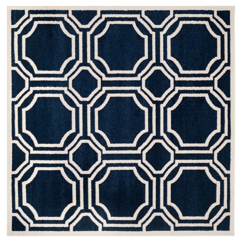 Amala 5'X5' Indoor/Outdoor Rug - Navy/Ivory (Blue/Ivory) - Safavieh
