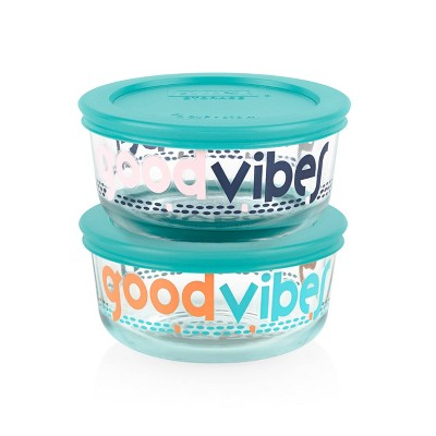 Pyrex 2 Cup 2pk Round Food Storage Container Set - Good Vibes