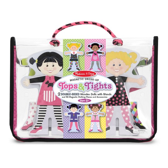 Melissa & Doug Tops and Tights Magnetic Dress-Up Wooden Doll Pretend Play Set (56+pc) image number null
