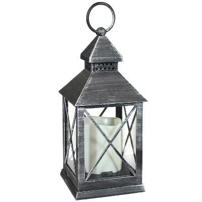 """10"""" Yorktown Plastic and Glass Battery Operated Indoor LED Candle Lantern - Gray - Sunnydaze Decor"""