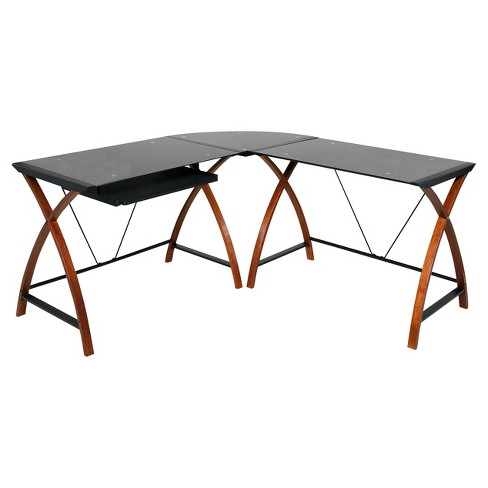 L Shaped Modern Glass and Wood Desk Black - Onespace