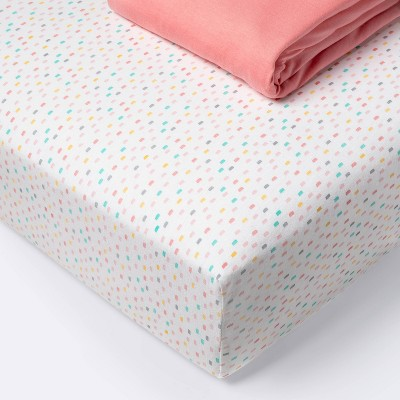 Fitted Crib Sheet Jersey Sheet - Cloud Island™ Confetti/Coral 2pk