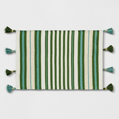 Teal Green Striped Tasseled Woven Accent Rug 2'X3' - Opalhouse™