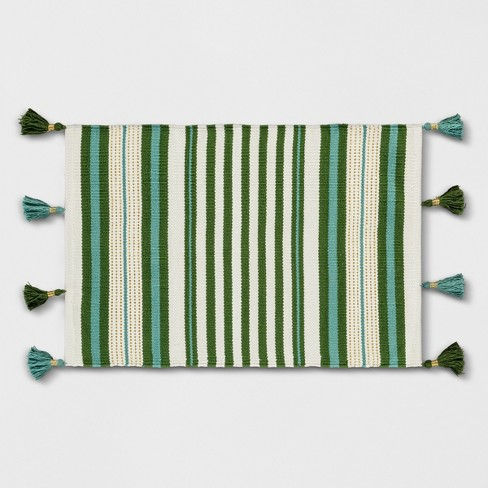 Teal Green Striped Tasseled Woven Rug - Opalhouse™ - image 1 of 4