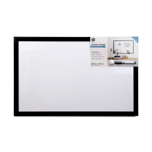 ubrands black wood frame dry erase board with marker 23 x 35