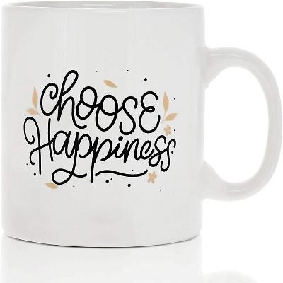 Okuna Outpost White Large Ceramic Coffee Mug Tea Cup, Choose Happiness (16 oz, 3.7 x 4.1 In)