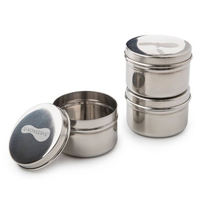 U-Konserve Mini Stainless Steel Food-Storage Containers Round 3oz (Set of 3)