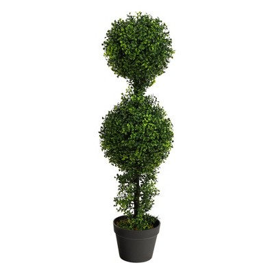 """34"""" Indoor/Outdoor Boxwood Double Ball Topiary Artificial Tree - Nearly Natural"""
