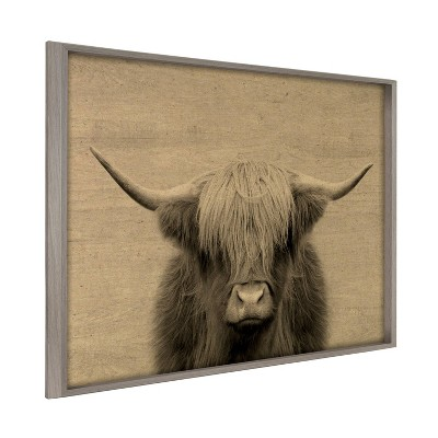 """24"""" x 32"""" Blake Hey Dude Highland Cow Framed Printed Wood by the Creative Bunch Studio Gray - Kate and Laurel"""