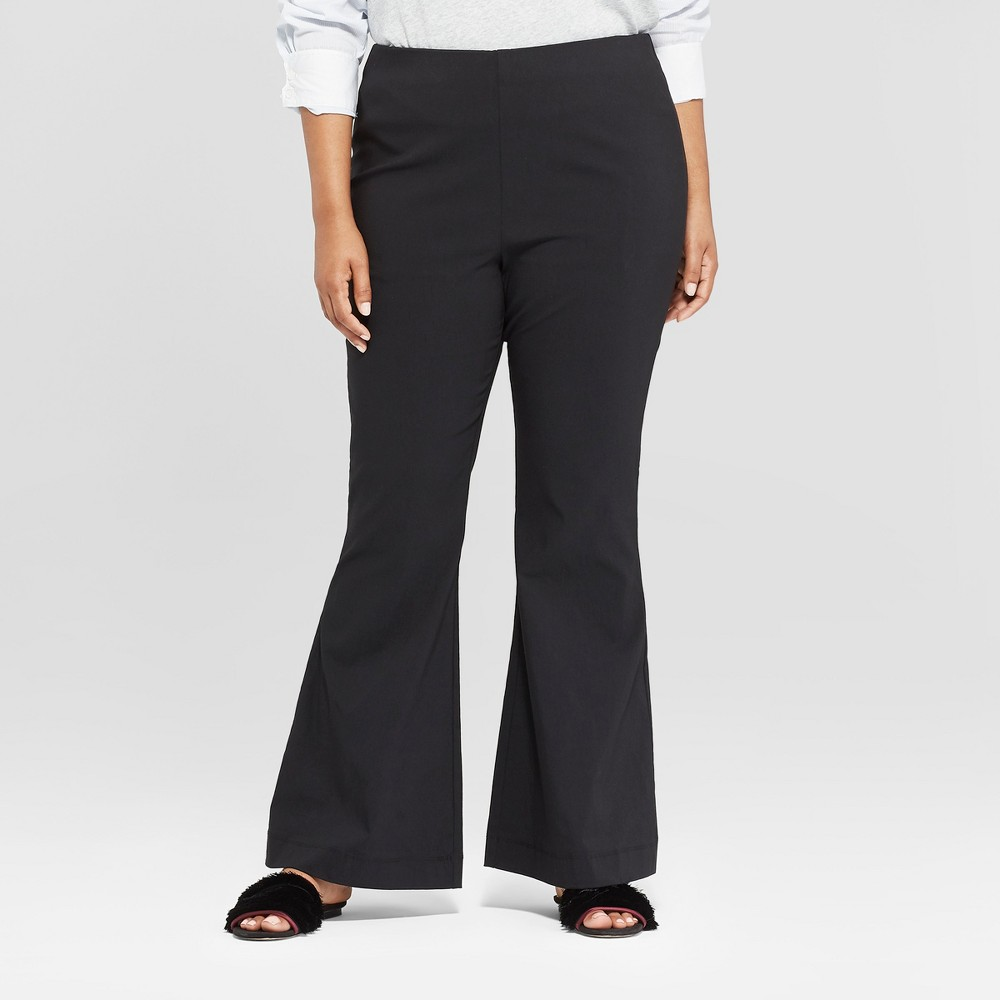 Women's Plus Size Relaxed Flared Pants - Who What Wear Black 18W