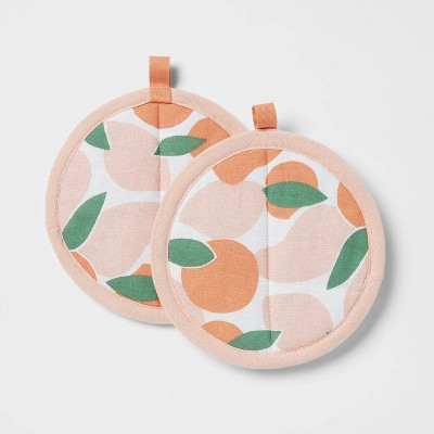 2pk Cotton Printed Kitchen Pot Holder Pink - Room Essentials™