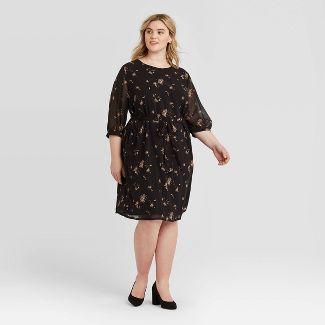 Women's Plus Size Floral Print 3/4 Sleeve Dress - Ava & Viv™ Black 3X