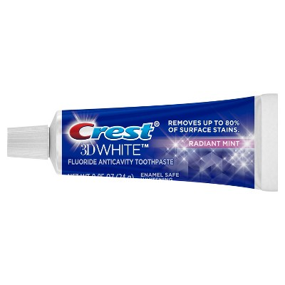 Crest 3D White Whitening Anticavity Fluoride Toothpaste Radiant Mint Trial Travel Size - 0.85oz