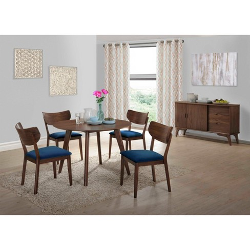 Swell Rosie 6Pc Dining Set With Chairs Walnut Brown Navy Blue Picket House Furnishings Alphanode Cool Chair Designs And Ideas Alphanodeonline