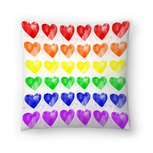 Americanflat Rainbow Hearts By Leah Flores Throw Pillow Target