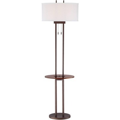 Franklin Iron Works Modern Industrial Floor Lamp with Table and USB Bronze Walnut Oval Linen Shade Living Room Bedroom Office