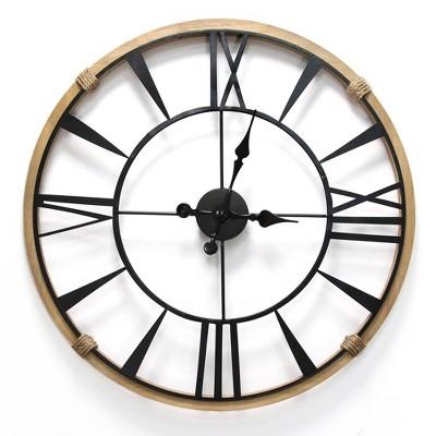 "29.5"" Columbus Wall Clock Natural/Black - Stratton Home Décor"