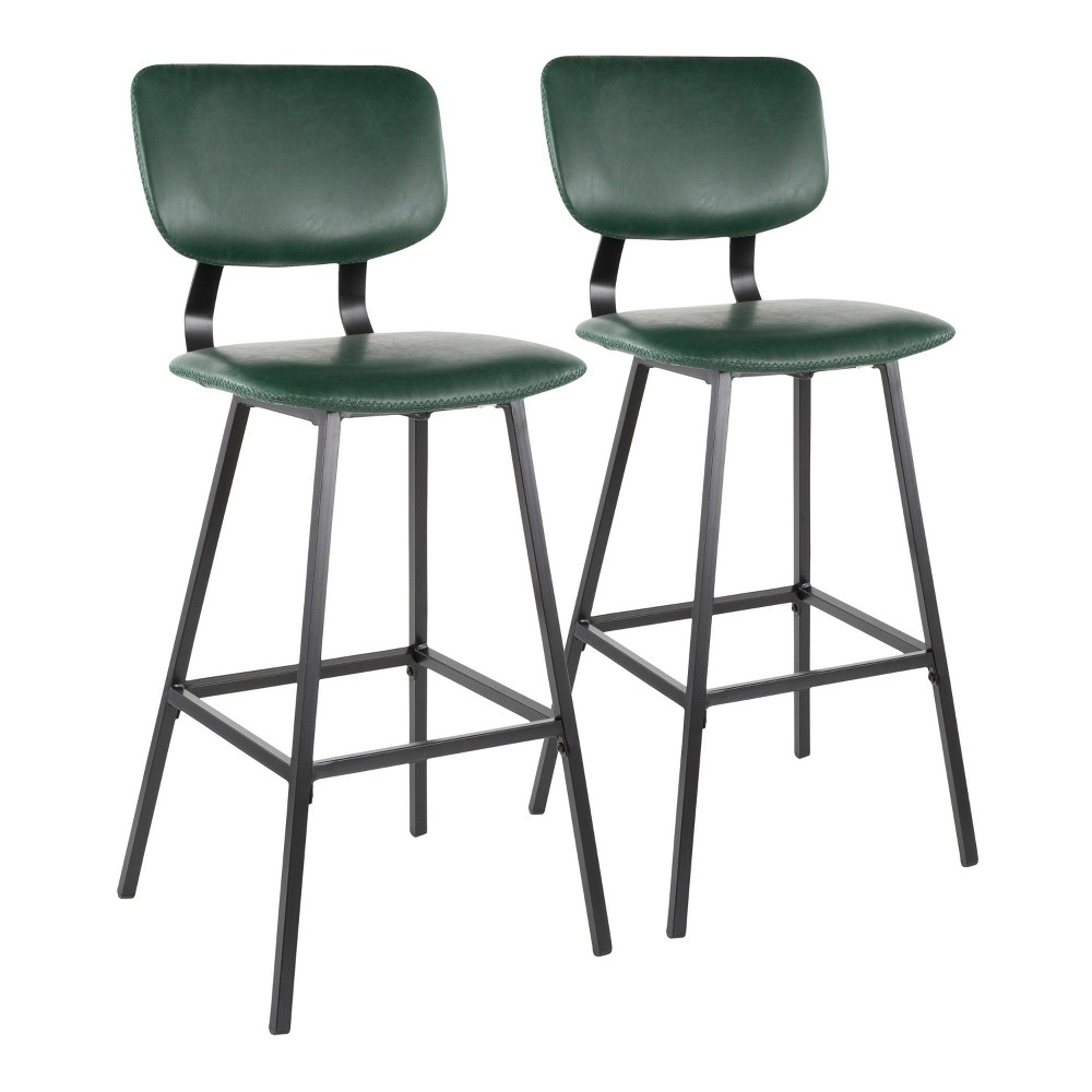Set of 2 Foundry Contemporary Barstool Faux Leather Black/Green - LumiSource