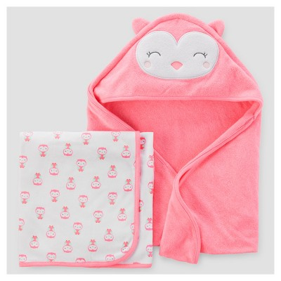 Baby Girls' 2pk Owl Towel - Just One You™ Made by Carter's® Pink