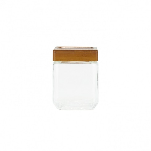 Amici Home Sequoia Square Glass Canisters, Assorted Set of 3 (Small, Medium, Large Size) - image 1 of 4