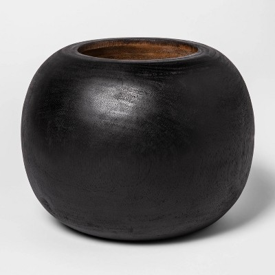 """12"""" x 8.6"""" Round Wooden Planter Black - Project 62™"""