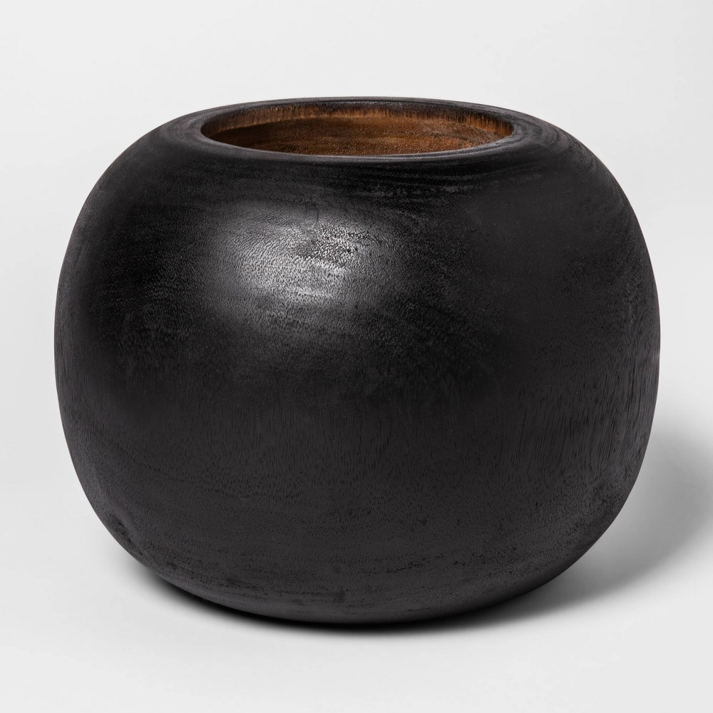 "Image of ""12"""" x 8.6"""" Round Wooden Planter Black - Project 62"""