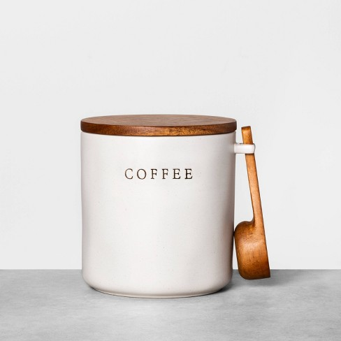 Stoneware Coffee Canister With Wood Lid, Coffee Storage Containers