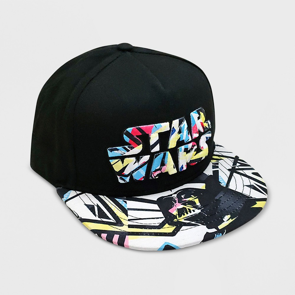 size 40 0dcb1 d2b70 ... He ll love showing off his favorite movie in on trend style with this  boys  Star Wars Flat Brim Hat. This black baseball hat features a solid  color top ...