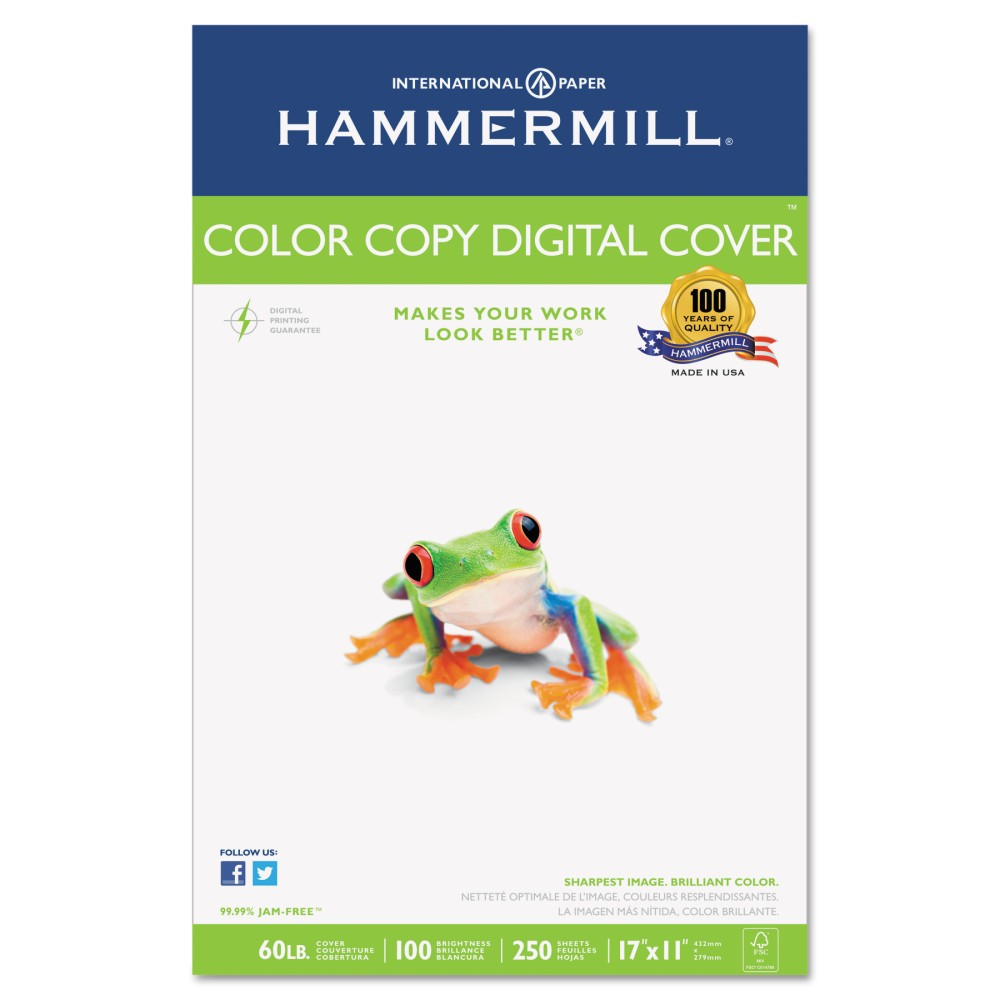 Hammermill Copier Digital Cover Stock, 60 lbs., 17 x 11, Photo White, 250 Sheets