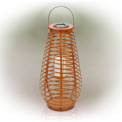 """Alpine 19"""" Solar Metal Cylindrical Lantern with Flickering LED Light Brown"""