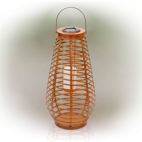 Alpine 19 Solar Metal Cylindrical Lantern With Flickering Led Light Brown Target
