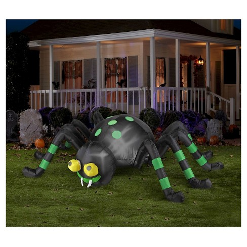 Halloween Spider with Green Stripe Animated Airblown - image 1 of 1