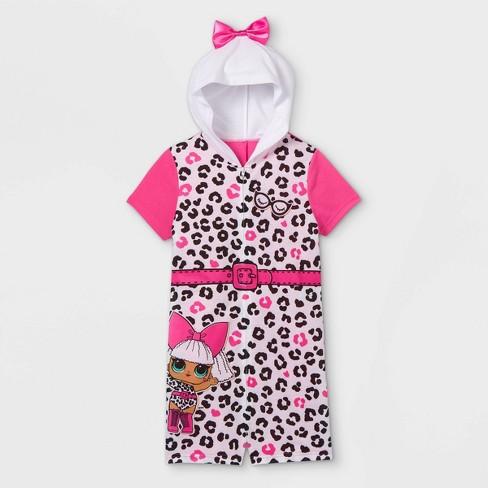 Girls' L.O.L. Surprise! Cheetah Print Pajama Romper - White/Pink - image 1 of 2
