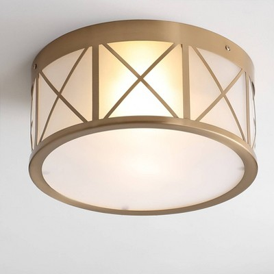 Metal/Glass Cadence Drum Flush Mount Ceiling Light Brass - Jonathan Y