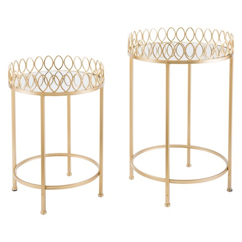 Luxe Mirror and Steel Round Tray Tables (set of 2) - Gold - ZM Home - image 1 of 1