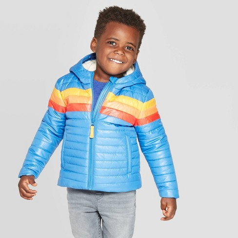 Toddler Boys' Pieced Midweight Puffer Jacket - Cat & Jack™ Blue - image 1 of 3