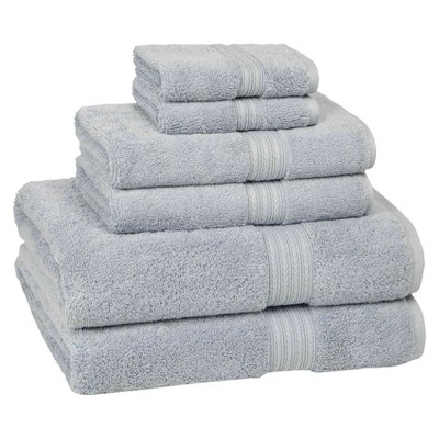 6pc Signature Solid Bath Towel Set Smoke Blue- Cassadecor