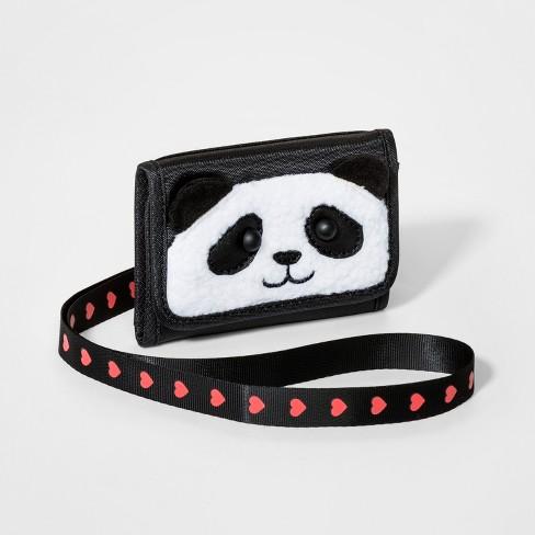 Girls' Panda Wallet - Cat & Jack™ Black - image 1 of 3