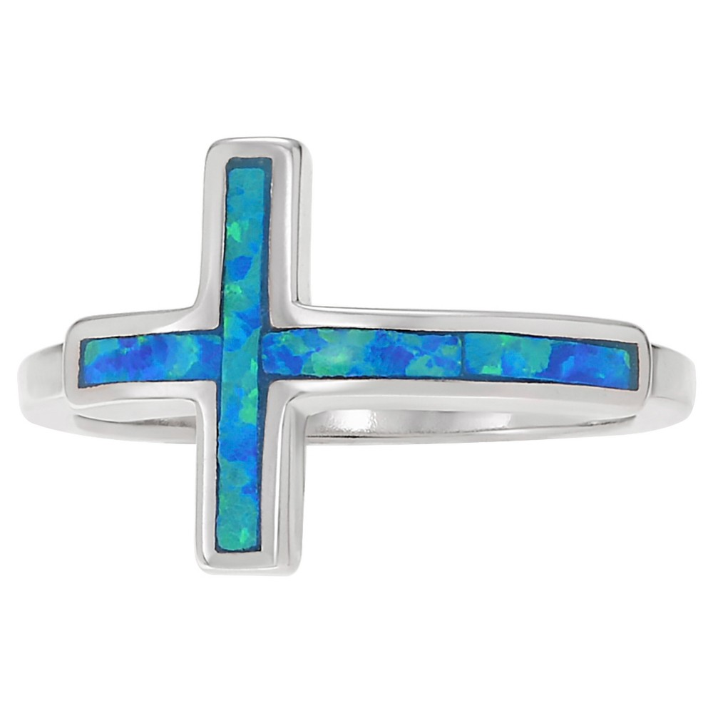 1/5 CT. T.W. Special-Cut Opal Inlaid Cross Ring in Sterling Silver - Blue, 9, Girl's