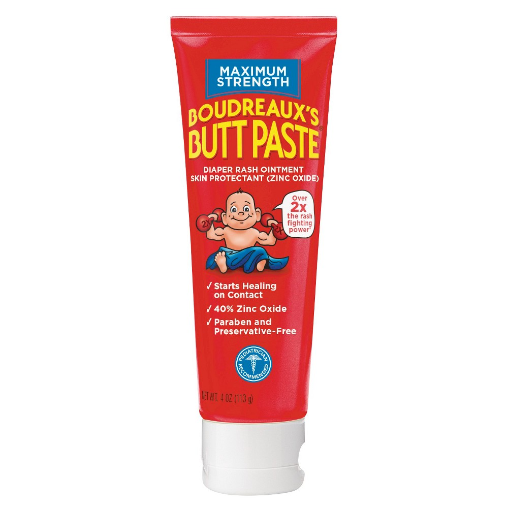 Boudreaux's Butt Paste Diaper Rash Ointment - Maximum Strength - Preservative Free, 4oz Tube