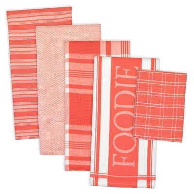 5pc Cotton Assorted Foodie Dishtowel and Dishcloth Set Pink - Design Imports
