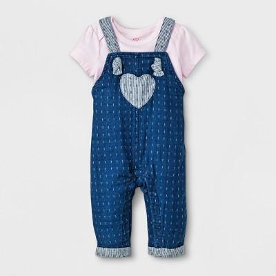 Baby Girls' Short Sleeve T-Shirt and Denim Overall Set - Cat & Jack™ Pink/Blue 0-3M