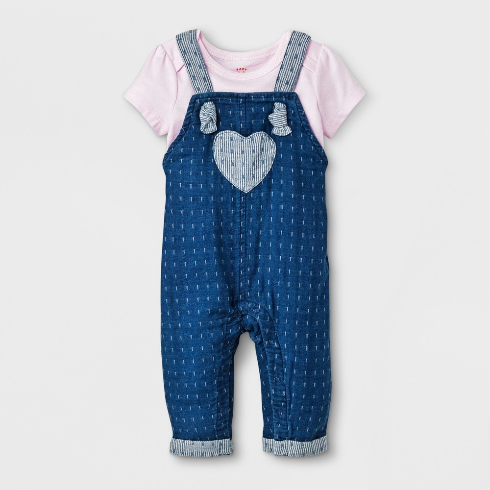 Baby Girls' Short Sleeve T-Shirt and Denim Overall Set - Cat & Jack Pink/Blue 6-9M
