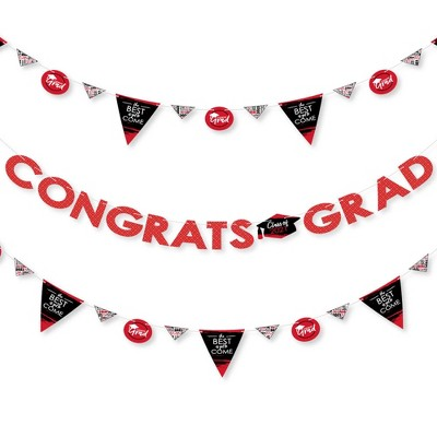 Big Dot of Happiness Red Grad - Best is Yet to Come - 2021 Red Party Letter Banner Decoration - 36 Banner Cutouts and Congrats Grad Banner Letters