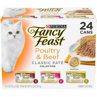 Purina Fancy Feast Grain Free Pate Wet Cat Food Variety Pack Poultry & Beef Collection - 3oz Cans