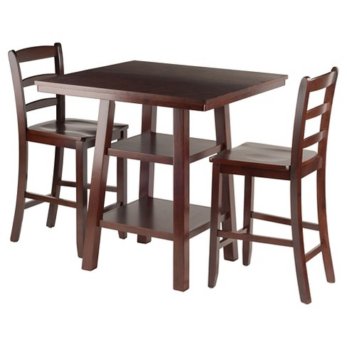 3 Piece Orlando Set 2 Shelves High Table with Ladder Back Counter Stools Wood/Walnut - Winsome - image 1 of 4