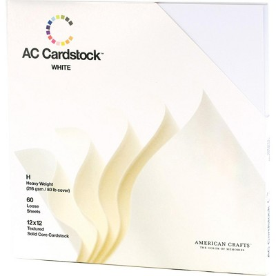 """American Crafts Textured Cardstock Pack 12""""X12"""" 60/Pkg-Solid White"""