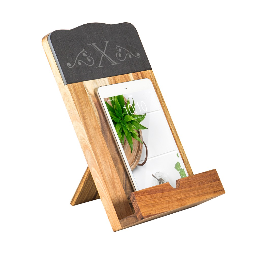 Cathy's Concepts Monogram Slate & Acacia Tablet and Recipe Book Stand X, Brown Gray